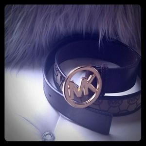 Brown, leather and canvas Michael Kors belt